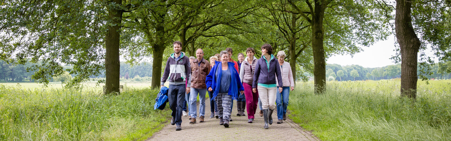 Begeleidende wandelingen. Hier zie je mensen wandelend door de natuur. 4 Elementen.